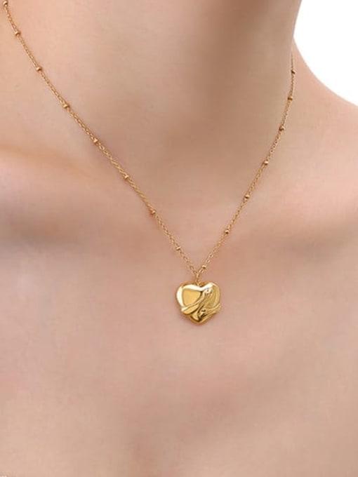 P029 gold necklace 40+ 5cm Titanium Steel Vintage Smooth Heart  Pendant Necklace