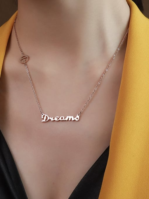 P109 rose gold 40+ 5cm Titanium 316L Stainless Steel Letter Minimalist Necklace with e-coated waterproof