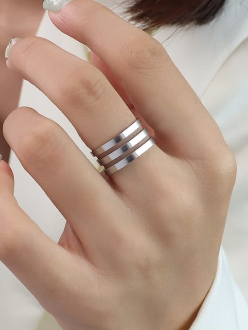 A005 three layer steel color Titanium 316L Stainless Steel Geometric Vintage Band Ring with e-coated waterproof