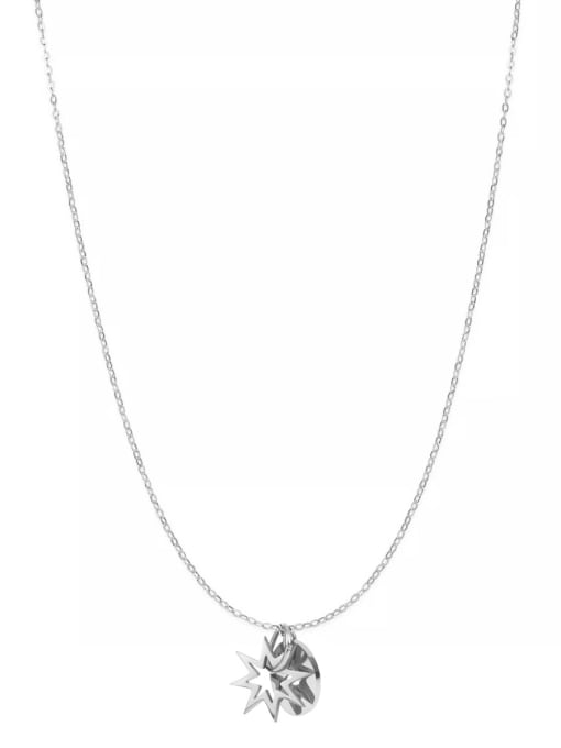 Silver Simple hollow star disc stainless steel necklace