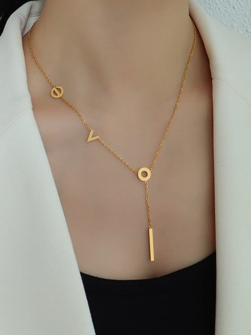 MAKA Titanium Steel Letter Tassel Minimalist Tassel Necklace 2