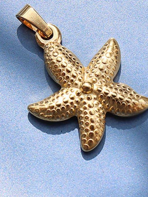 D17 golden starfish Titanium Steel  Moon Star Vintage Pendant