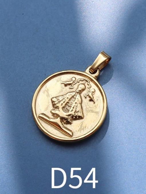 D54 gold Stainless steel Geometric  Vintage Pendant