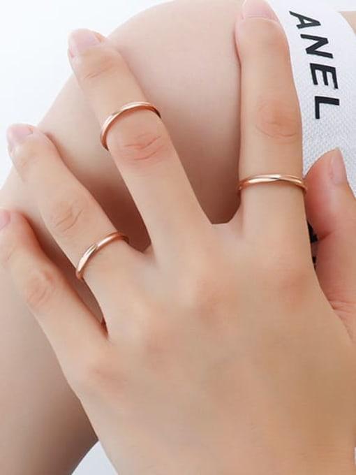 rose gold uS 4 Titanium Steel Round Minimalist Band Ring
