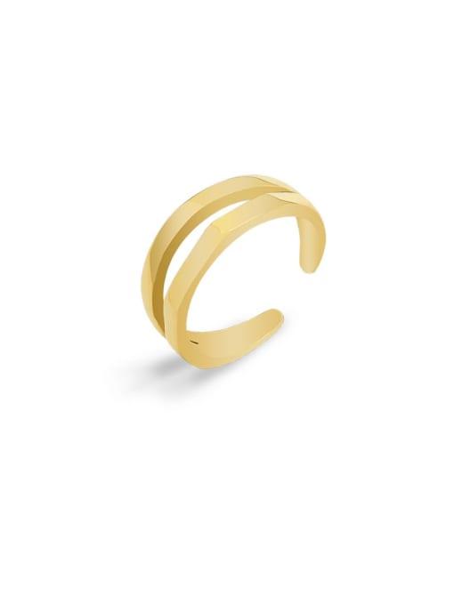 Gold  not adjustable Titanium Steel Geometric Minimalist Stackable Ring