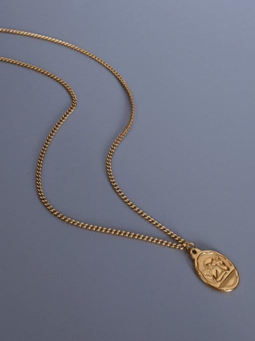 MAKA Titanium Steel Angel Vintage Geometric  Pendant Necklace 3