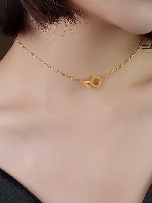 P222 golden triangle  30+5cm Titanium 316L Stainless Steel Geometric Minimalist Necklace with e-coated waterproof