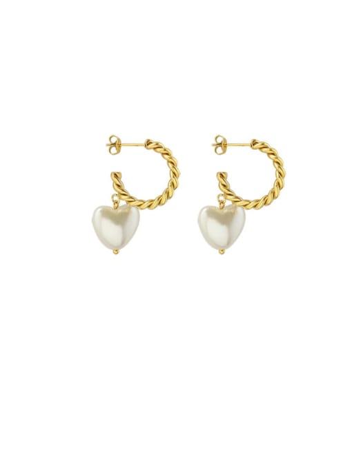 MAKA Titanium Steel Freshwater Pearl Heart Minimalist Drop Earring 0
