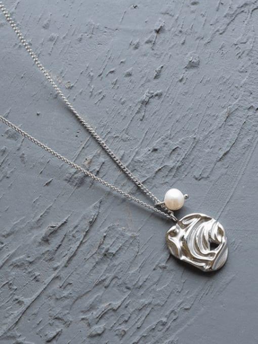Steel necklace 40+5cm Titanium Steel Imitation Pearl Irregular Minimalist Necklace