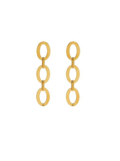 MAKA Titanium Steel Hollow Geometric Minimalist Drop Earring 0