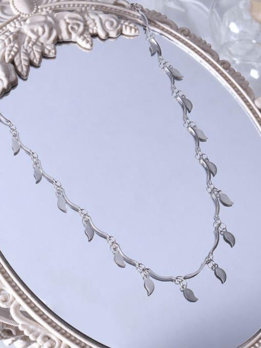 MAKA Titanium Steel Leaf Minimalist Necklace 2