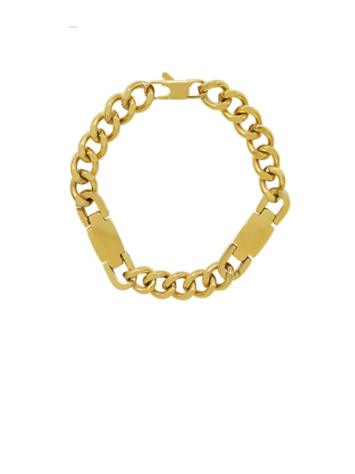 MAKA Titanium Steel Geometric Chain Artisan Link Bracelet 0