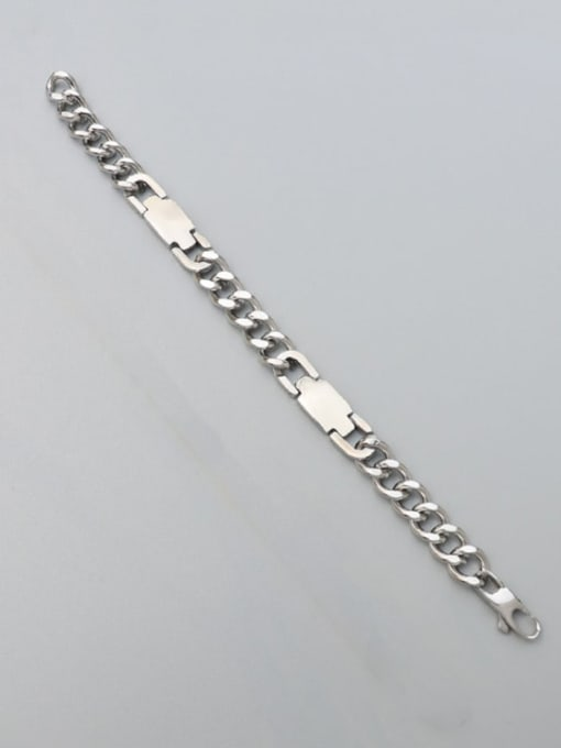 Steel color Bracelet 17cm Titanium Steel Geometric Chain Artisan Link Bracelet