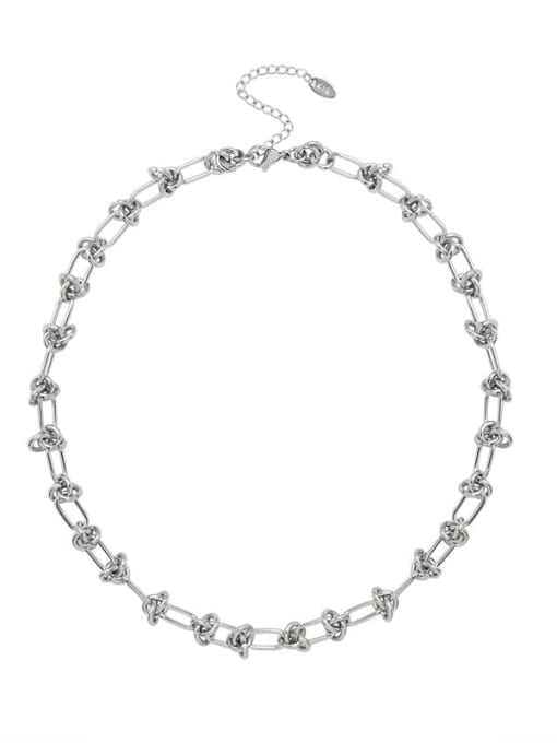 P863 Steel Necklace 40+5cm Titanium Steel Vintage Hollow Geometric  Bangle and Necklace Set