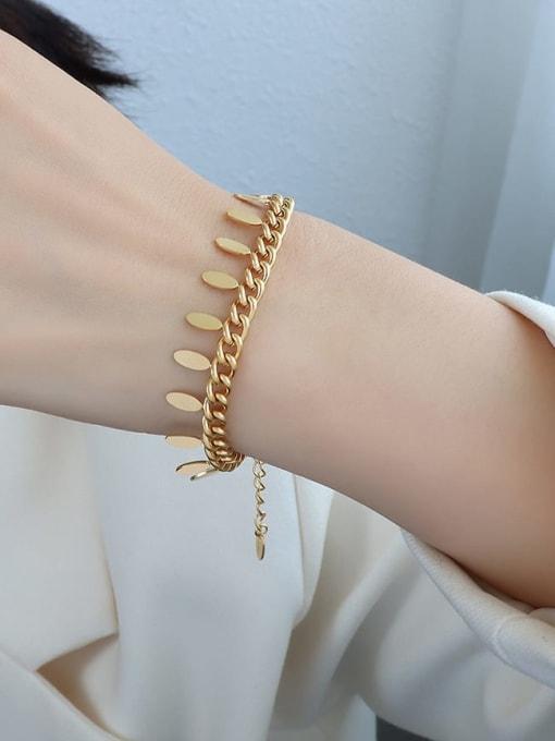 E256 gold leaf tassel Bracelet 15+ 5cm Titanium 316L Stainless Steel Tassel Vintage Bracelet with e-coated waterproof