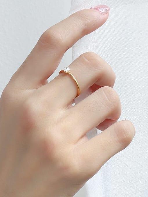 MAKA Titanium Steel Cubic Zirconia Geometric Minimalist Band Ring 1