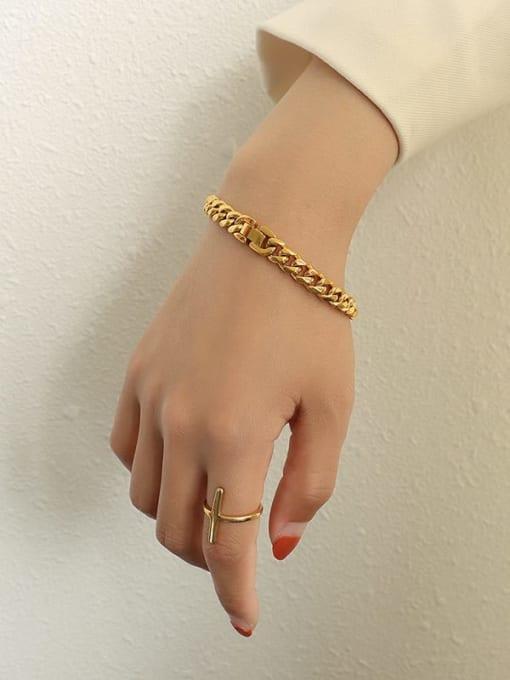 MAKA Titanium Steel Geometric Chain Vintage Link Bracelet 1