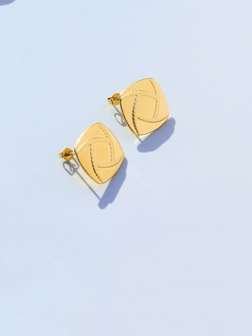 MAKA Titanium Steel Geometric Minimalist Stud Earring 2