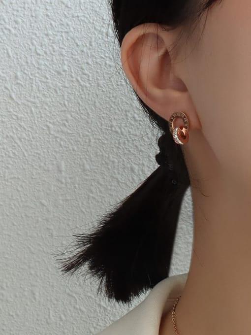 rose gold Titanium Steel Minimalist Geometric Rhinestone Earring and Necklace Set