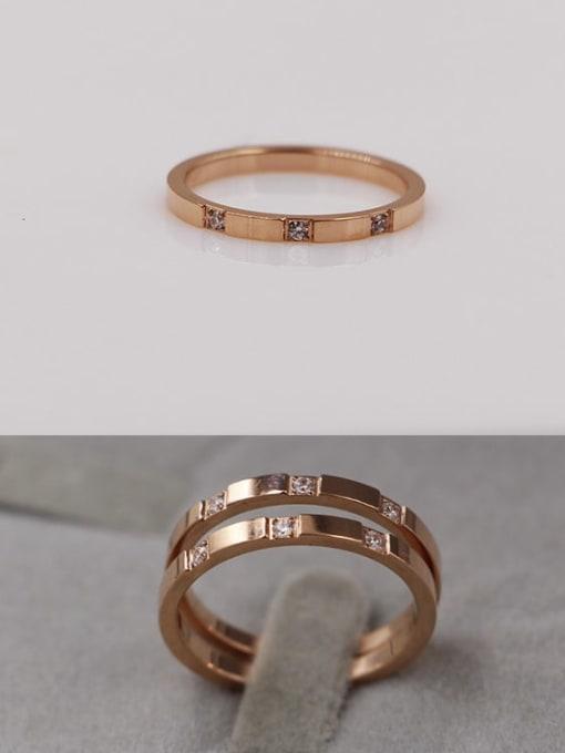 K.Love Titanium Steel Rhinestone Geometric Minimalist Band Ring 1