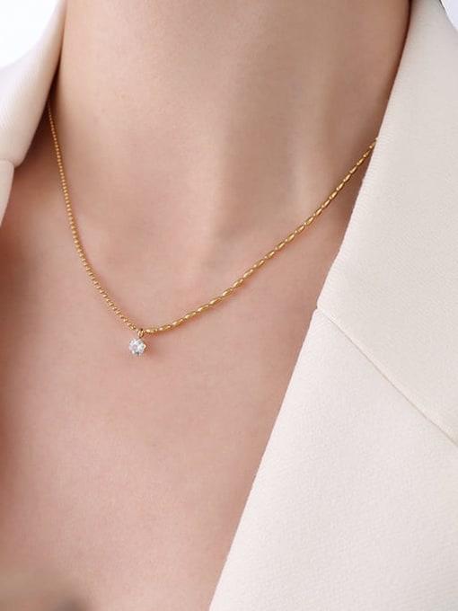 P044 zircon necklace 42 +5cm Titanium Steel Cubic Zirconia Geometric Minimalist Necklace