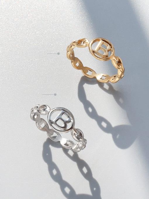 MAKA Titanium Steel Letter Minimalist Band Ring 2