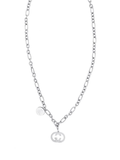 Silver Double G clavicle necklace O word necklace