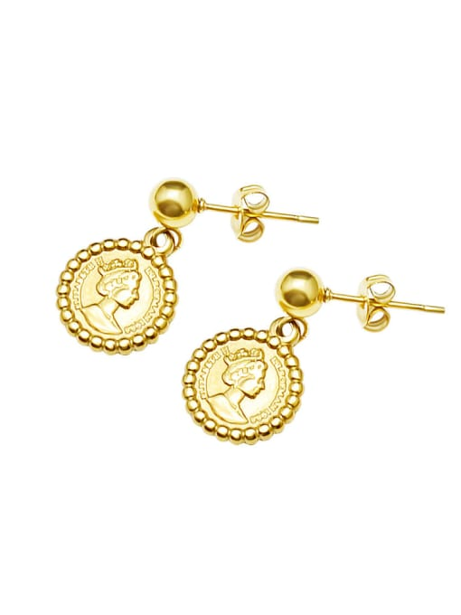 gold Titanium 316L Stainless Steel Geometric Minimalist Drop Earring with e-coated waterproof