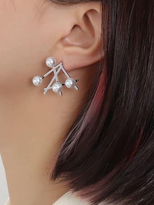 F525 Steel Earrings pair Titanium Steel Imitation Pearl Irregular Minimalist Stud Earring