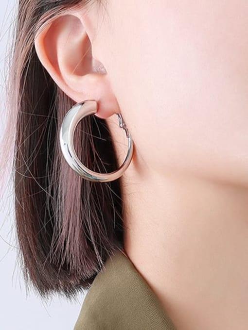 F237 Steel Earrings small Titanium Steel Geometric Minimalist Hoop Earring