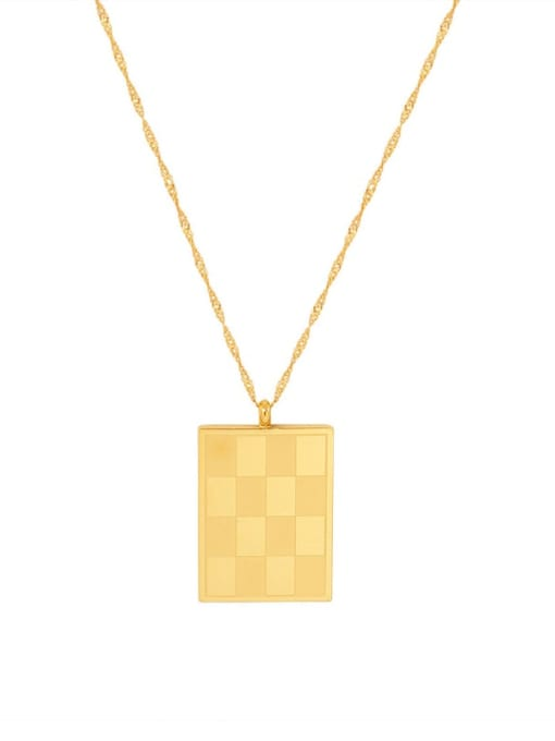 P063 gold 40+ 5cm Titanium Steel Geometric Minimalist Necklace
