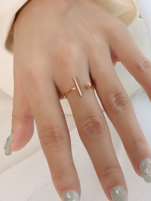 A052 rose gold T-shaped opening ring Titanium 316L Stainless Steel Geometric Minimalist Band Ring with e-coated waterproof