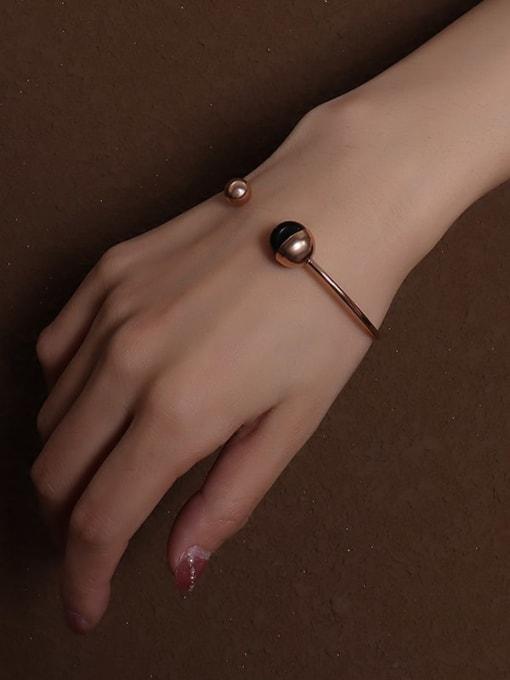 MAKA Titanium Steel Bead Geometric Minimalist Cuff Bangle 1