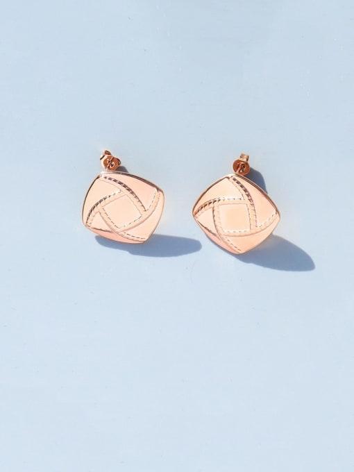 Rose Gold Titanium Steel Geometric Minimalist Stud Earring