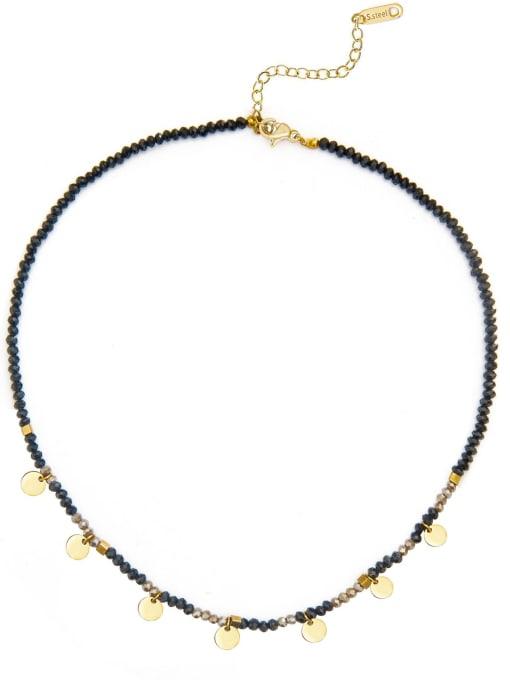 YAYACH Natural stone beads temperament titanium steel necklace 3