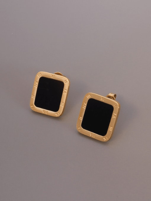 MAKA Titanium Steel Shell Geometric Minimalist Stud Earring 0