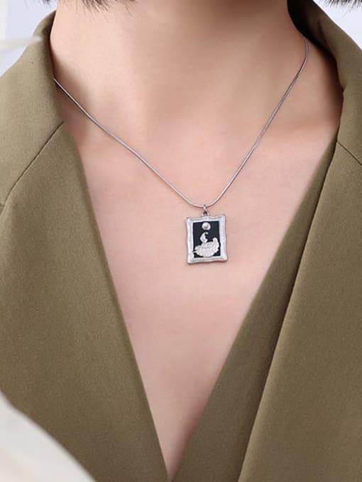 P078 Steel Necklace 40 5cm Titanium Steel Enamel Geometric Vintage Necklace