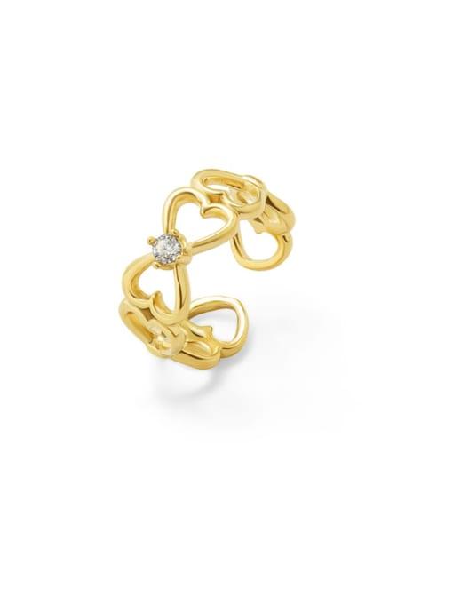 Gold Titanium Steel Rhinestone Heart Artisan Band Ring