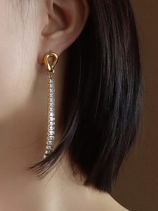MAKA Titanium Steel Cubic Zirconia Geometric Hip Hop Drop Earring 1