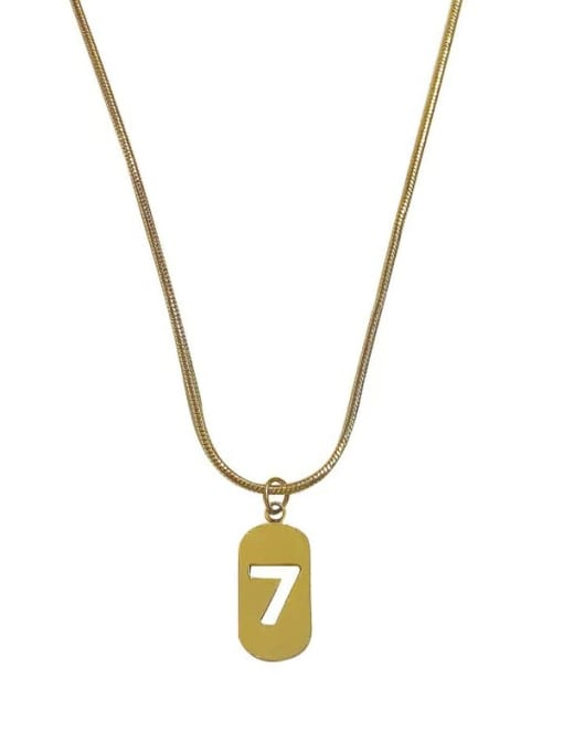 YAYACH No. 7 Necklace Female Hollow Square Brand Snake Shaped Titanium Steel Necklace 0