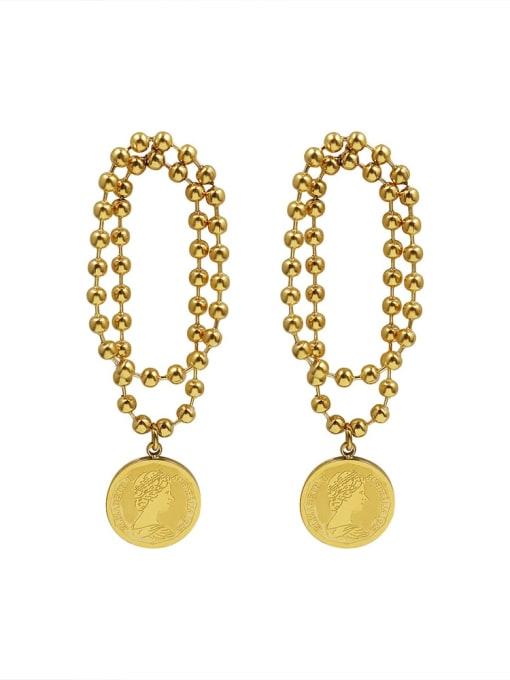 Golden couple Titanium Steel Bead Geometric Vintage Drop Earring