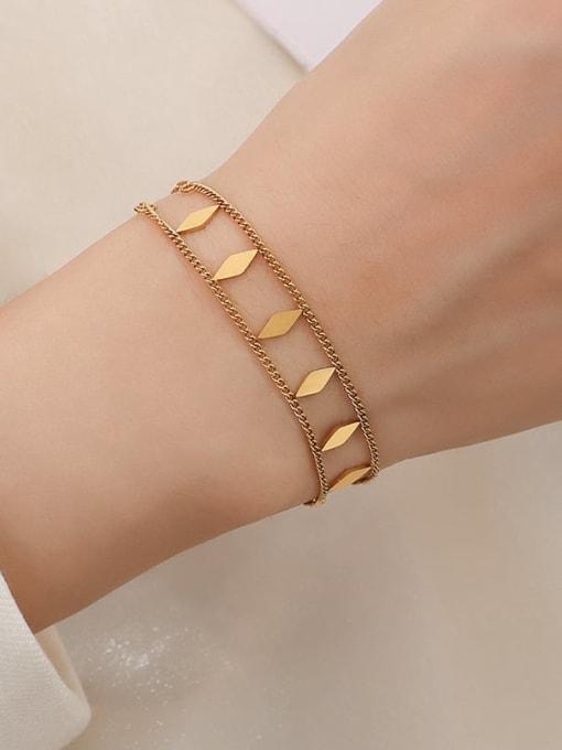 MAKA Titanium Steel Geometric Hip Hop Strand Bracelet 0