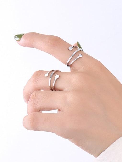 A267 steel ring Titanium Steel Smooth Irregular Minimalist Band Ring