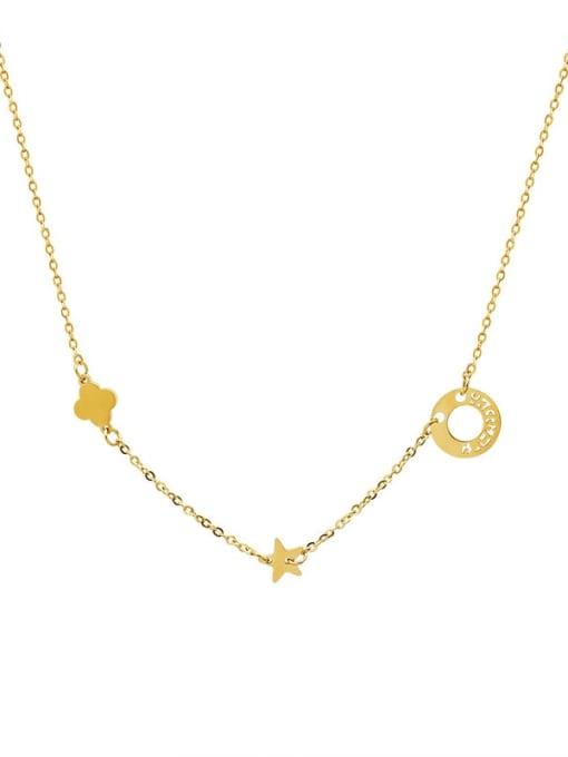 MAKA Titanium Steel Clover Minimalist Necklace 0
