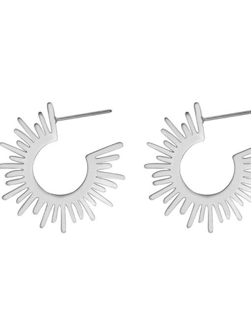 Silver European and American fashion temperament sunflower titanium steel earrings