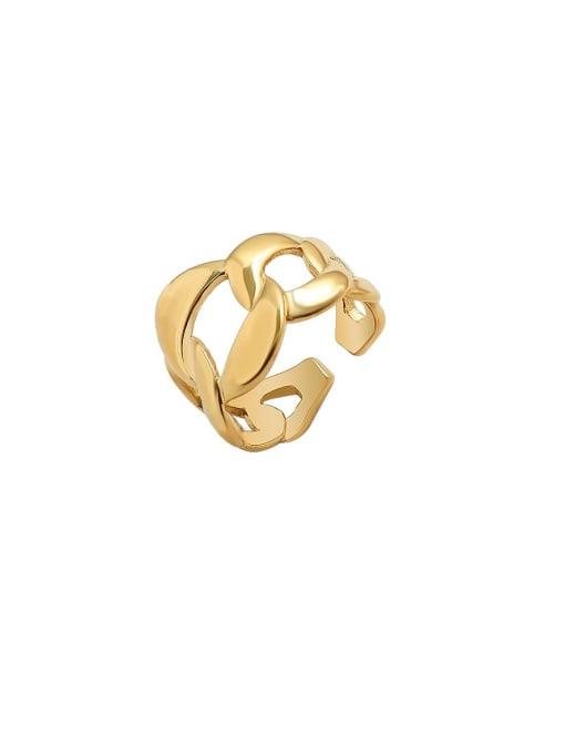 Gold  US 7 Titanium Steel  Hollow Geometric Minimalist Band Ring