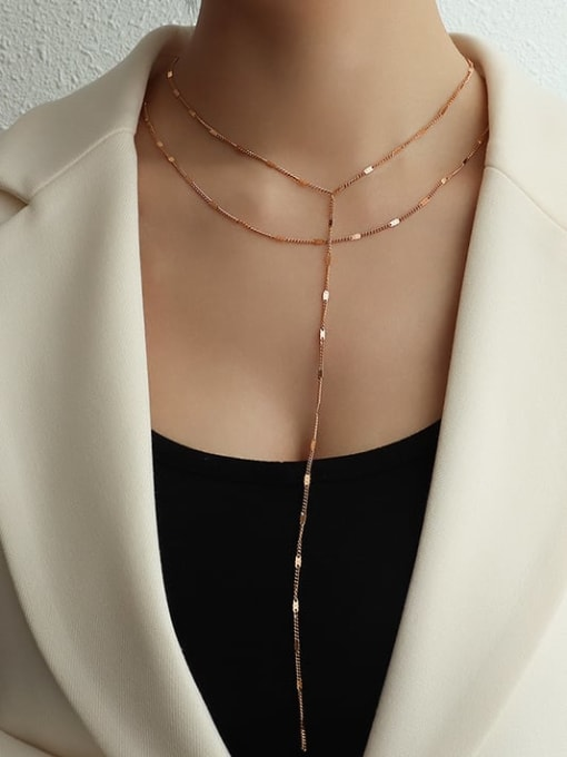 Long and short set rose gold Titanium Steel Tassel Minimalist Lariat Necklace