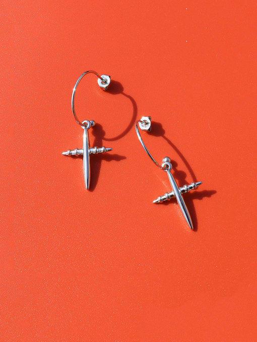 Steel Titanium Steel Cross Minimalist Hook Earring