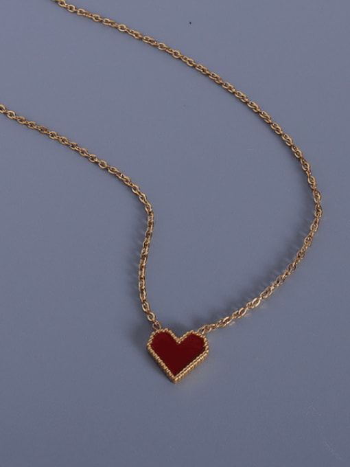 Gold acrylic peach heart necklace 40+5cm Titanium Steel AcrylicHeart Minimalist Necklace