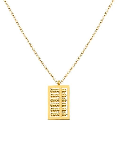 MAKA Titanium Steel Bead Geometric Vintage Necklace 2